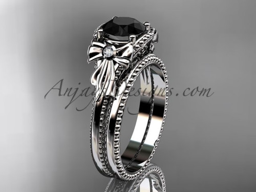 Bow Wedding Set Platinum Black Diamond Bridal Ring ADLR376S