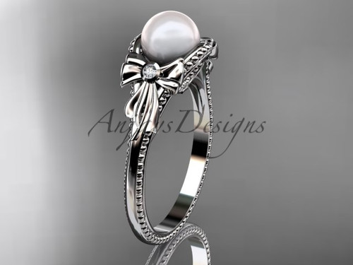 Bow Engagement Ring White Gold Pearl Wedding Ring AP376
