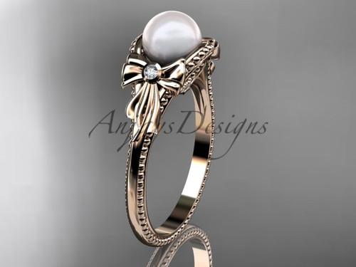 Bow Engagement Ring Rose Gold Pearl Wedding Ring AP376