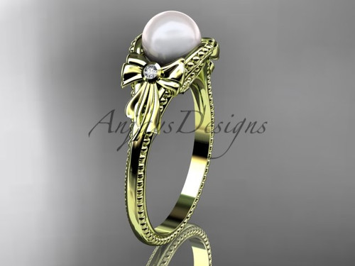 Bow Engagement Ring yellow Gold Pearl Wedding Ring AP376