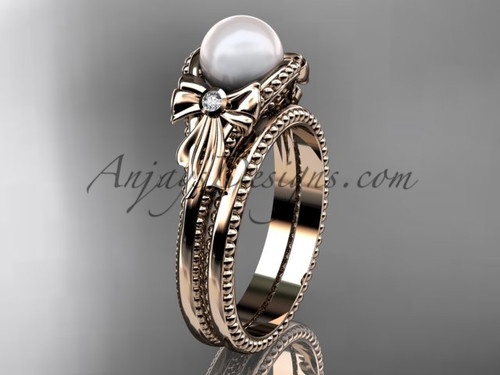 Rose Gold Bow Wedding Set Pearl  Engagement Ring AP376S