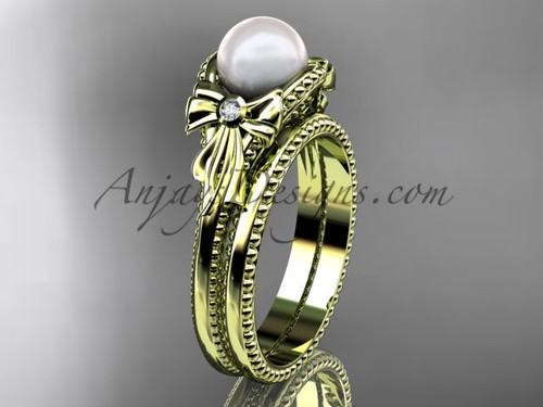 Yellow Gold Bow Wedding Set Pearl  Engagement Ring AP376S