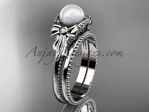 Platinum Bow Wedding Set Pearl  Engagement Ring AP376S