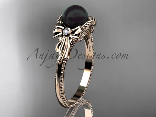 Bow Engagement Ring Rose Gold Round Tahitian Black Cultured Pearl Wedding Ring ABP376