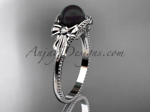 Bow Engagement Ring platinum Round Tahitian Black Cultured Pearl Wedding Ring ABP376
