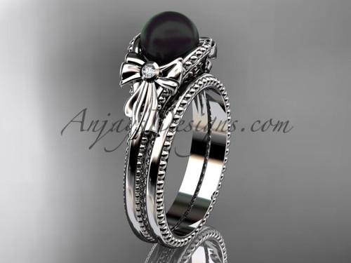 White Gold Tahitian Black Pearl Bow Wedding Ring Set ABP376S