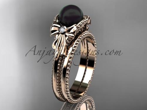 Rose Gold Tahitian Black Pearl Bow Wedding Set ABP376S