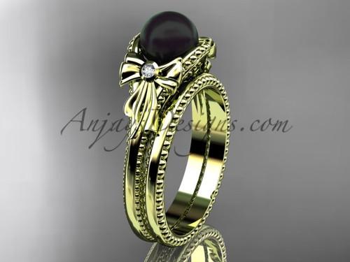 Yellow Gold Tahitian Black Pearl Bow Wedding Set ABP376S