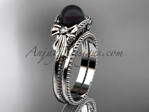 Bow Wedding Set White Gold Round Tahitian Black Cultured Pearl Engagement Ring ABP376