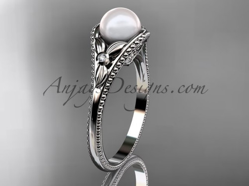 Flower Engagement Ring White Gold Pearl Floral Wedding Ring AP377