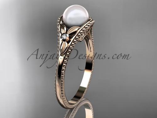 Flower Engagement Ring Rose Gold Pearl Floral Wedding Ring AP377