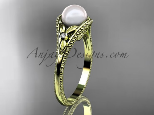 Flower Engagement Ring Yellow Gold Pearl Floral Wedding Ring AP377