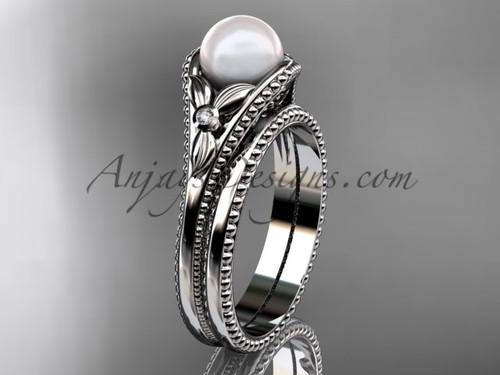 Flower wedding ring for women 14kt white gold white pearl engagement ring  AP377S