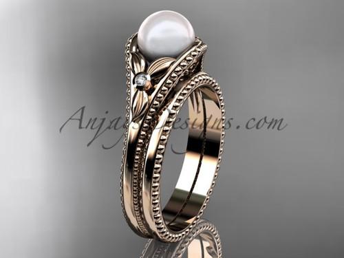 Flower wedding ring for women 14kt rose gold white pearl engagement ring  AP377S