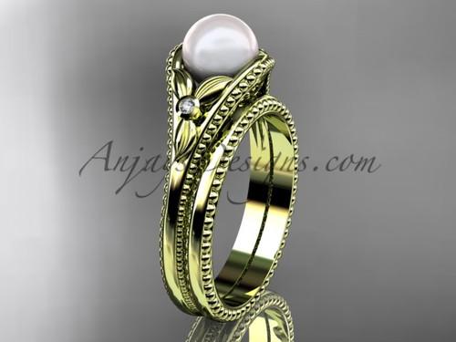 Flower wedding ring for women 14kt yellow gold white pearl engagement ring  AP377S