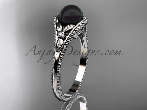 Flower Engagement Ring White Gold Round Tahitian Black Cultured Pearl Wedding Ring ABP377