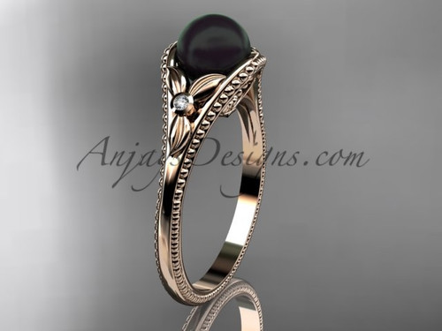Flower Engagement Ring Rose Gold Round Tahitian Black Cultured Pearl Wedding Ring ABP377