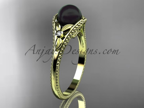 Flower Engagement Ring Yellow Gold Round Tahitian Black Cultured Pearl Wedding Ring ABP377