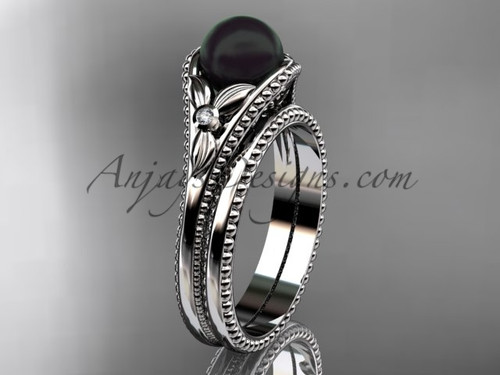 Flower Wedding Set White Gold Round Tahitian Black Cultured Pearl Engagement Ring ABP377S