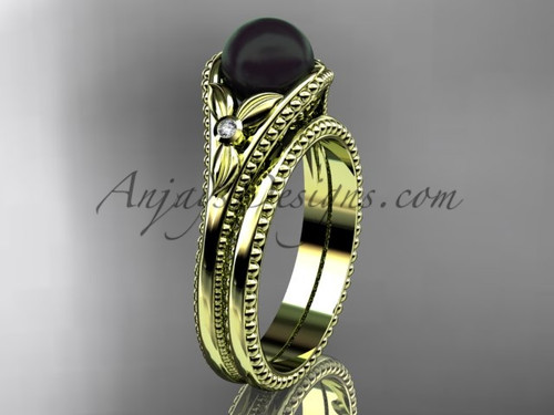 Flower Wedding Set Yellow Gold Round Tahitian Black Cultured Pearl Engagement Ring ABP377S
