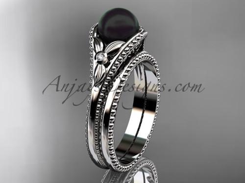 Flower Wedding Set Platinum Round Tahitian Black Cultured Pearl Engagement Ring ABP377S