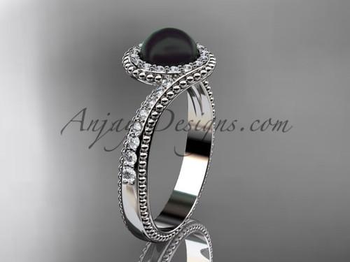 14kt White Gold Diamond Antique Black Pearl Ring ABP379