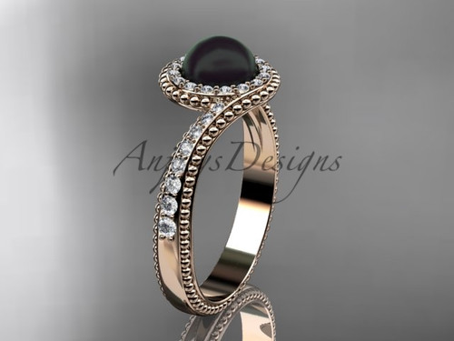 14kt Rose Gold Diamond Antique Black Pearl Ring ABP379
