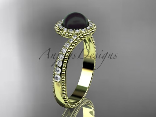 14kt Yellow Gold Diamond Antique Black Pearl Ring ABP379