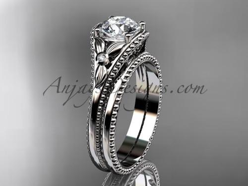 14kt White Gold Flower Diamond Unusual Bridal Set ADLR377S