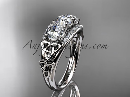14kt white gold diamond celtic trinity knot  wedding ring, three stone engagement ring  CT7203