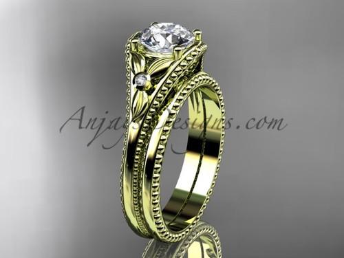 Yellow Gold Flower Moissanite Unusual Bridal Set ADLR377S