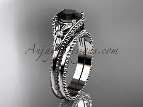 Platinum Black Diamond Flower Unusual Bridal Set ADLR377S