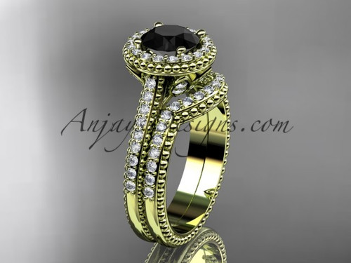 14kt yellow gold diamond floral wedding set, engagement ring with a Black Diamond center stone ADLR101S