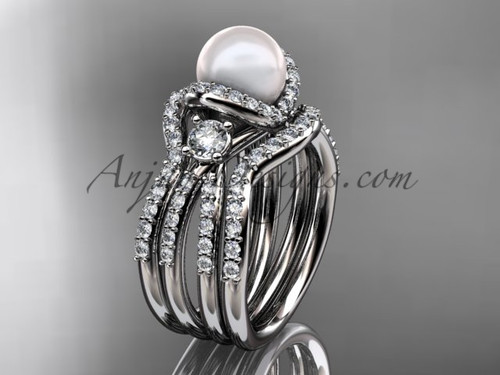 Pearl and Diamond Double Band Engagement Ring White Gold Wedding Set AP146S