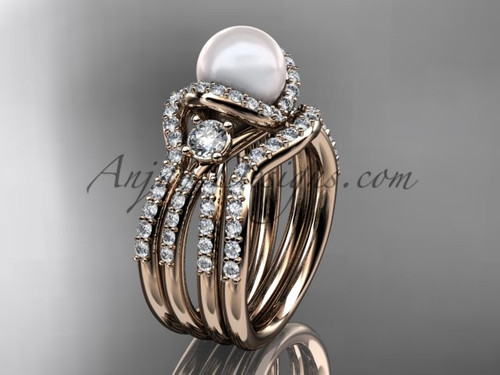 Pearl and Diamond Double Band Engagement Ring Rose Gold Wedding Set AP146S