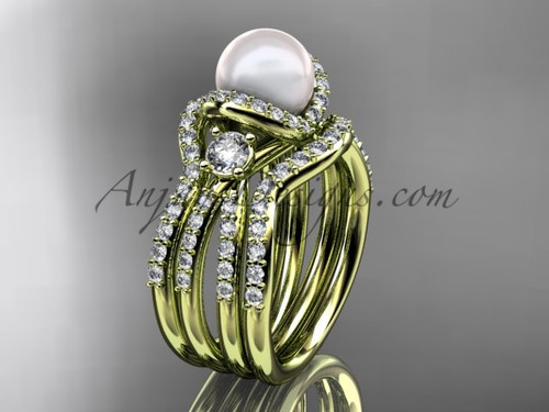 Pearl and Diamond Double Band Engagement Ring Yellow Gold Wedding Set AP146S