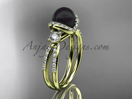 Black Cultured Pearl and Diamond Ring Yellow Gold Engagement ring ABP146