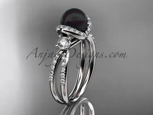 Black Cultured Pearl and Diamond Ring Platinum Engagement ring ABP146