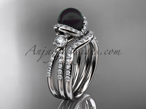 Unique Black Cultured Pearl and Diamond Ring White Gold Wedding Set ABP146S