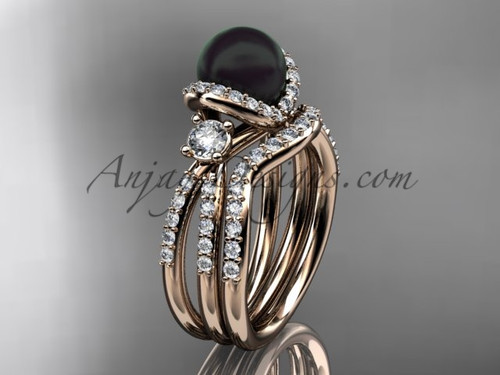 Unique Black Cultured Pearl and Diamond Ring Rose Gold Bridal Set ABP146S
