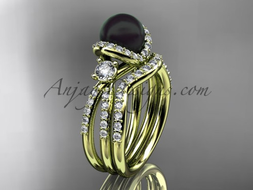 Unique Black Cultured Pearl and Diamond Ring Yellow Gold Bridal Set ABP146S