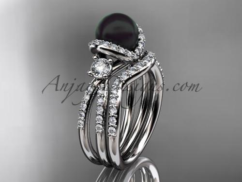Unique Black Cultured Pearl and Diamond Ring Platinum Bridal Set ABP146S