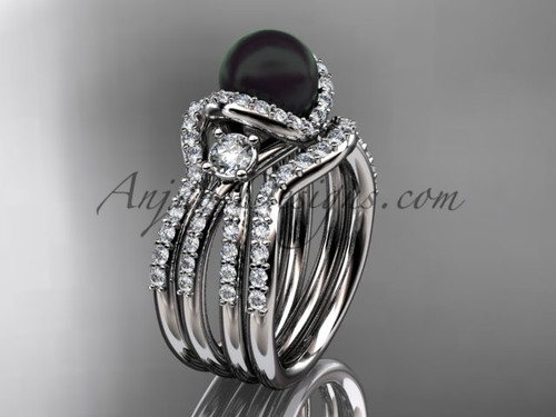 Black Cultured Pearl and Diamond Double Band Engagement Ring White Gold Wedding Set ABP146S