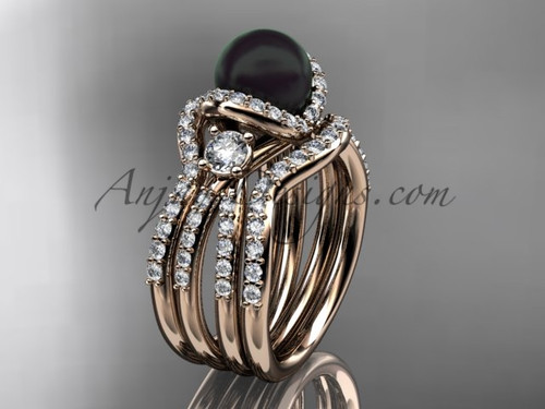 Black Cultured Pearl and Diamond Double Band Engagement Ring Rose Gold Wedding Set ABP146S