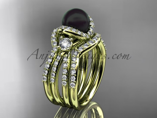 Black Cultured Pearl and Diamond Double Band Engagement Ring Yellow Gold Wedding Set ABP146S