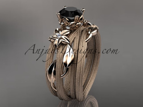 14kt rose gold diamond floral, leaf and vine wedding ring, engagement set with a Black Diamond center stone ADLR253S