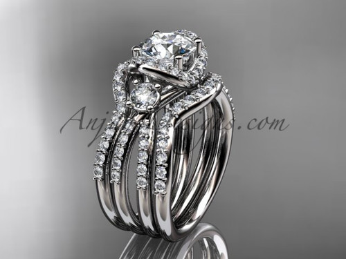 Modern double band wedding ring 14k white gold ring ADER146S