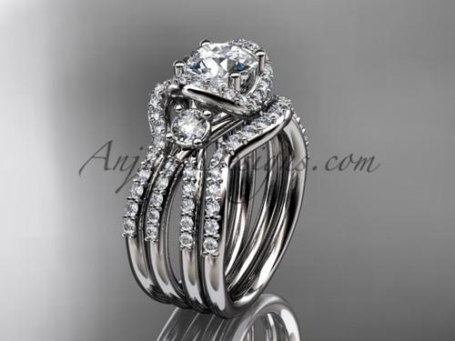 Simple modern diamond double band wedding ring platinum bridal ring ADER146S