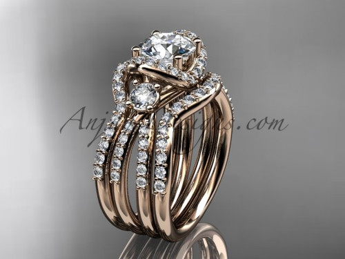 Moissanite ring rose gold double band wedding ring ADER146S