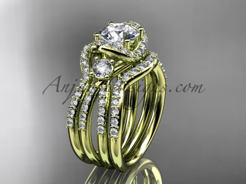 Moissanite ring yellow gold double band bridal ring ADER146S